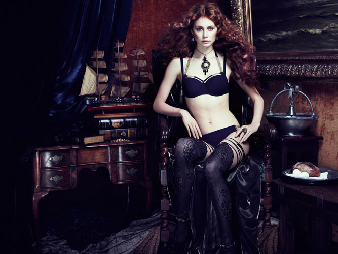 Art Armour blue Marlies Dekkers Gets Inspired by The Mauritshuis for Fall 2013 Lingerie Campaign
