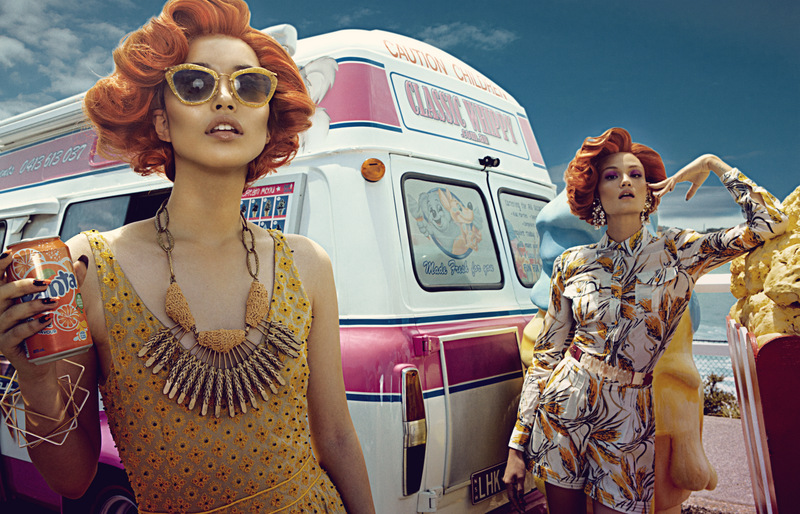 Bazaar IceCreamVanIMG 3541 1 Rachel Rutt and Seon Model Sweet Fashions for Harpers Bazaar China by Shxpir