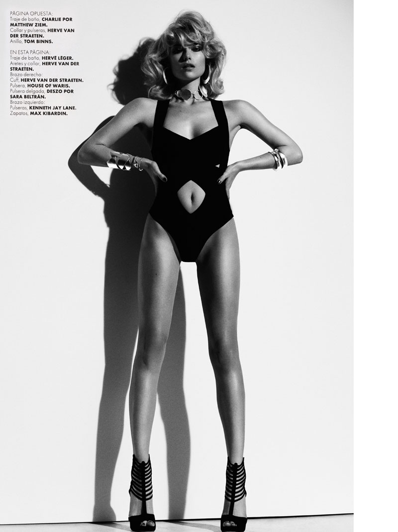 FarahElle3 Farah Holt is Sexy in Swim for Hannah Khymych in Elle Mexico May 2013