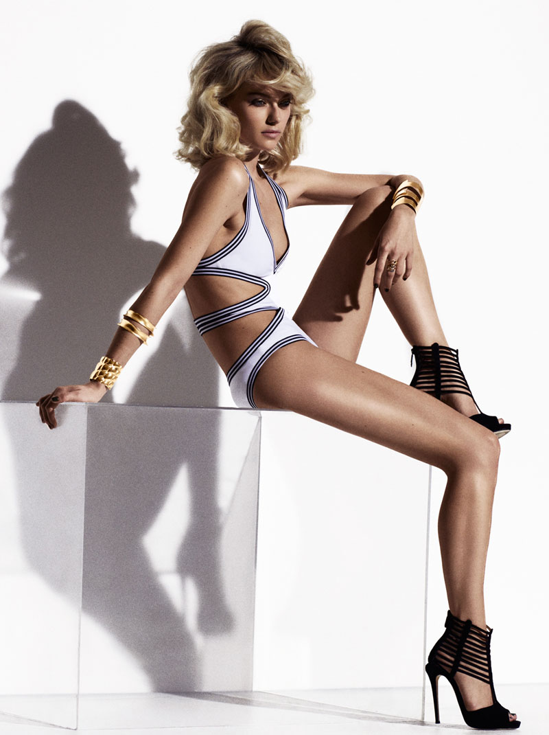 FarahElle7 Farah Holt is Sexy in Swim for Hannah Khymych in Elle Mexico May 2013