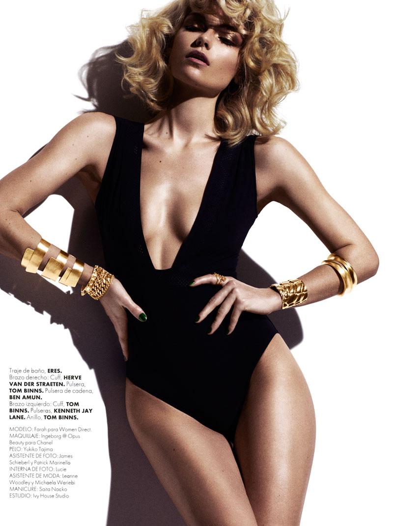 FarahElle8 Farah Holt is Sexy in Swim for Hannah Khymych in Elle Mexico May 2013