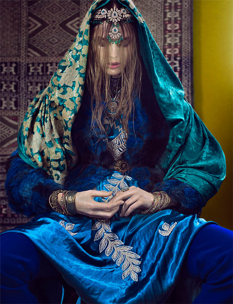 Gertrud Hegelund Models Indian Inspired Fashions for French Revue #22 by Signe Vilstrup