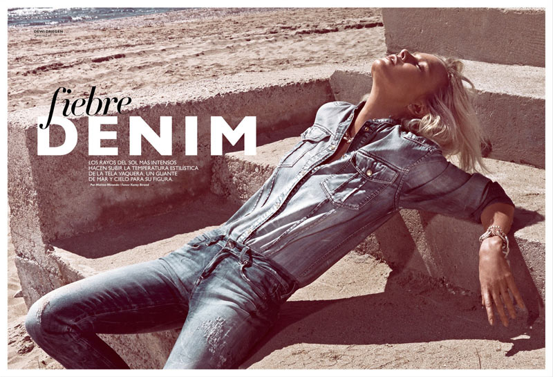 GraziaDewi1 Dewi Driegen Dons Denim for Koray Birand in Grazia Spain May 2013