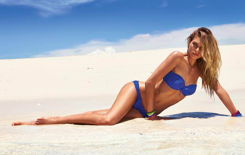 JessicaHartCalzedonia8 Jessica Hart Stuns on the Beach in Calzedonias Summer 2013 Styles