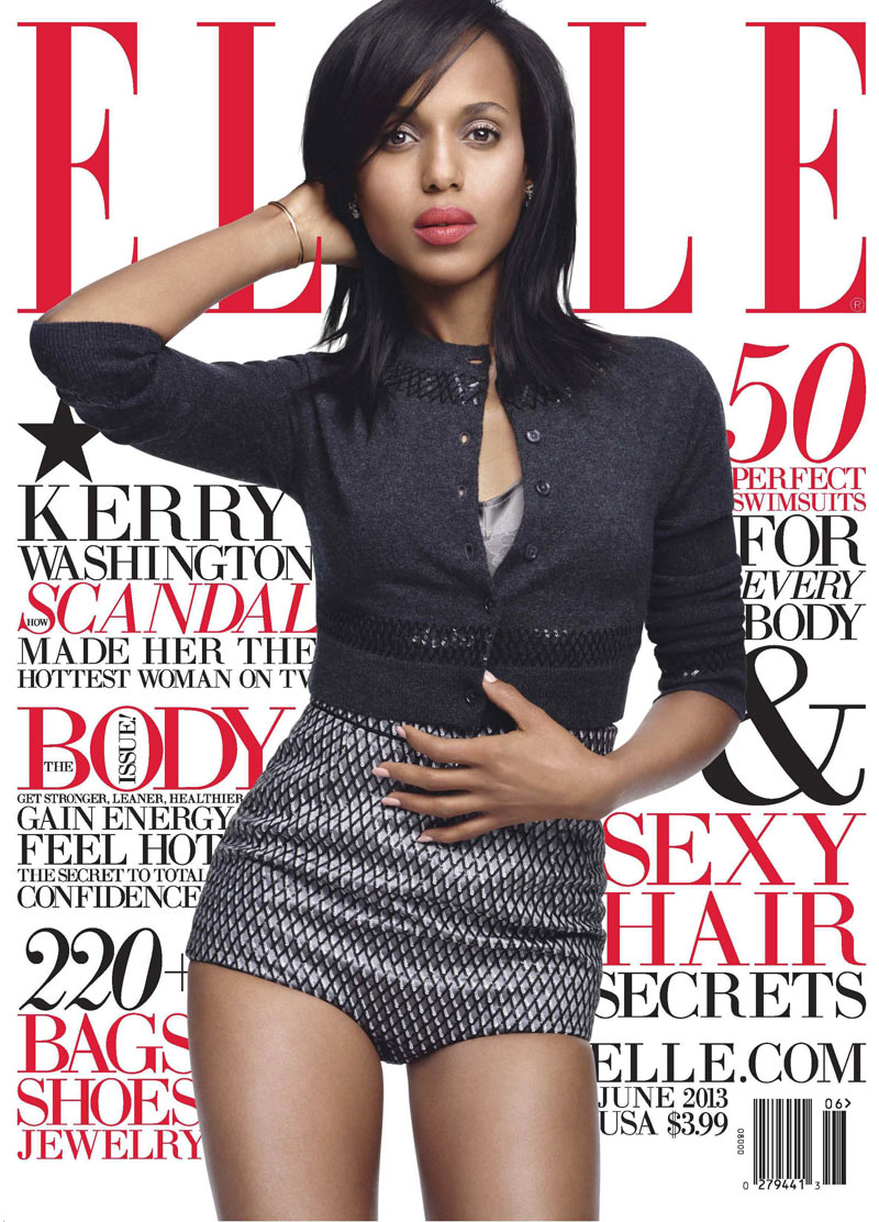 Kerry Washington ELLE1 Kerry Washington Sports Marc Jacobs for Elle US June 2013 Cover