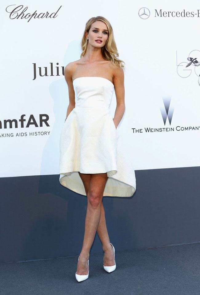 ROSIE HUNTINGTON WHITELEY DIOR1 Rosie Huntington Whiteley: Demure in Dior at amfAR's 20th Cinema Against AIDS Event in Cannes