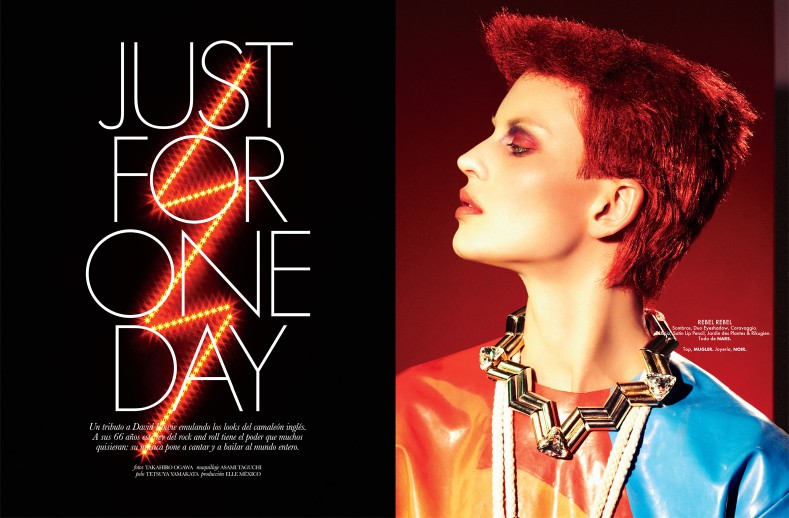 RockerBeautyElle1 Ellinore Erichsen Channels David Bowie for Takahiro Ogawa in Elle Mexico May 2013