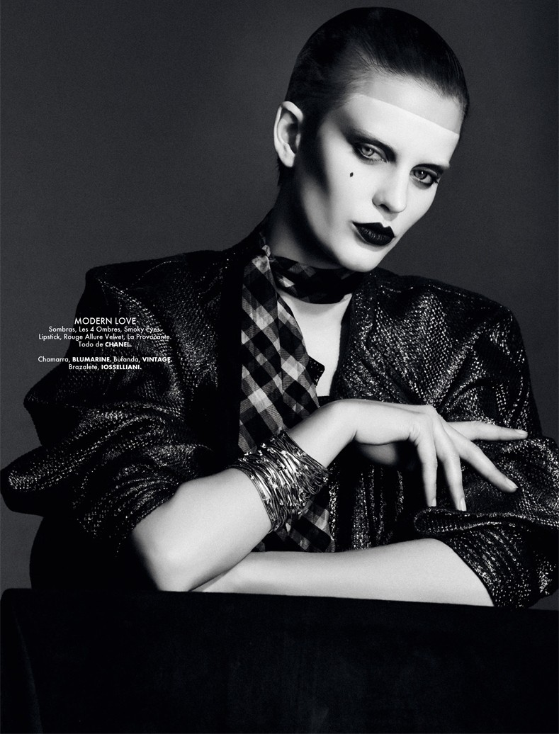 RockerBeautyElle6 Ellinore Erichsen Channels David Bowie for Takahiro Ogawa in Elle Mexico May 2013