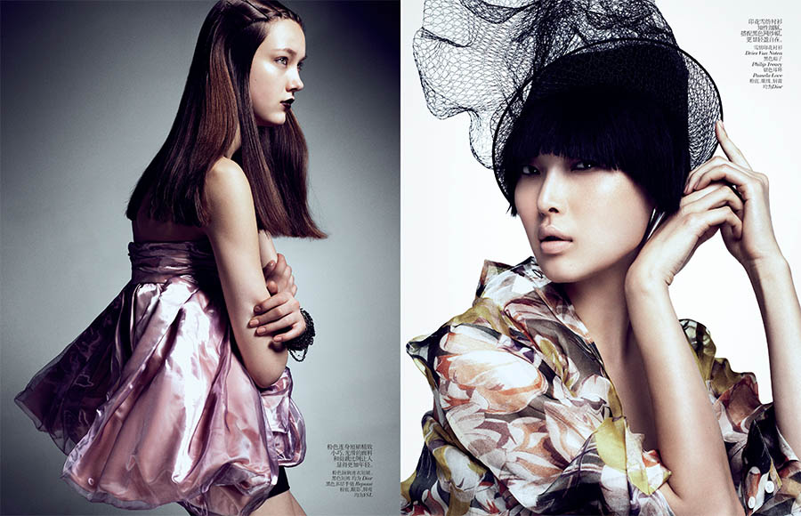 VCO SharifHamza 2 Yumi Lambert, Sung Hee and Ji Hye Park Pose for Sharif Hamza in Vogue China June 2013