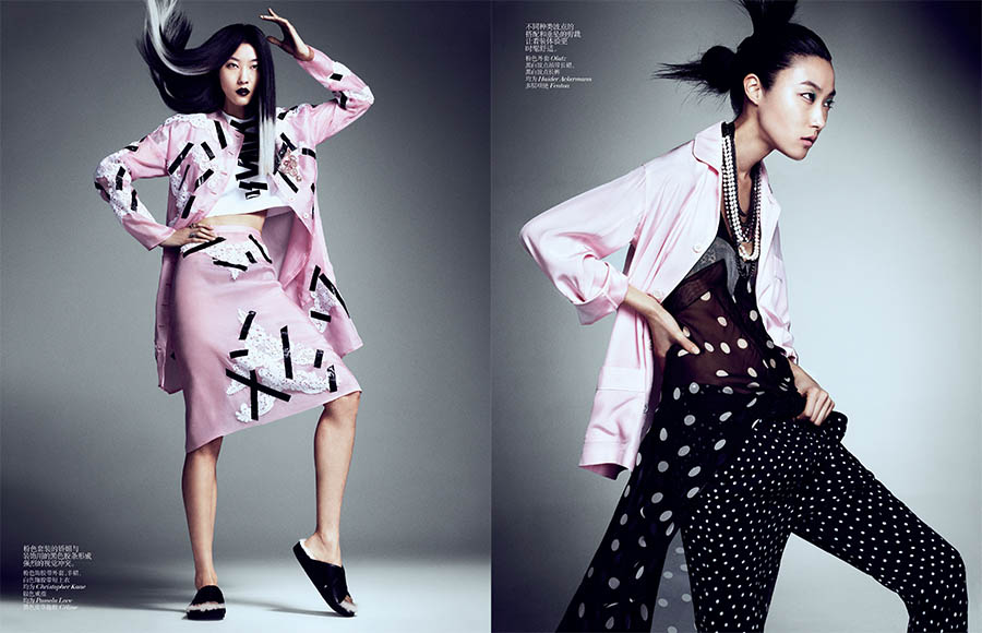 Yumi Lambert, Sung Hee and Ji Hye Park Pose for Sharif Hamza in Vogue China June 2013