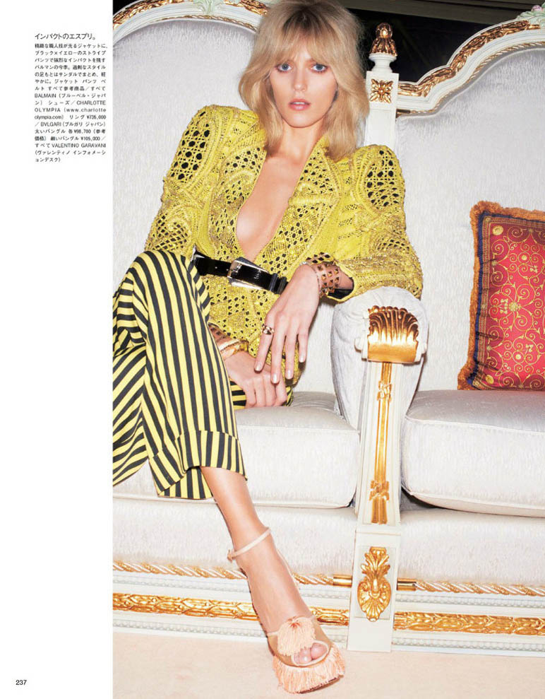 anja vogue japan2 Anja Rubik is 70s Glam for Vogue Japan June 2013 by Katja Rahwles