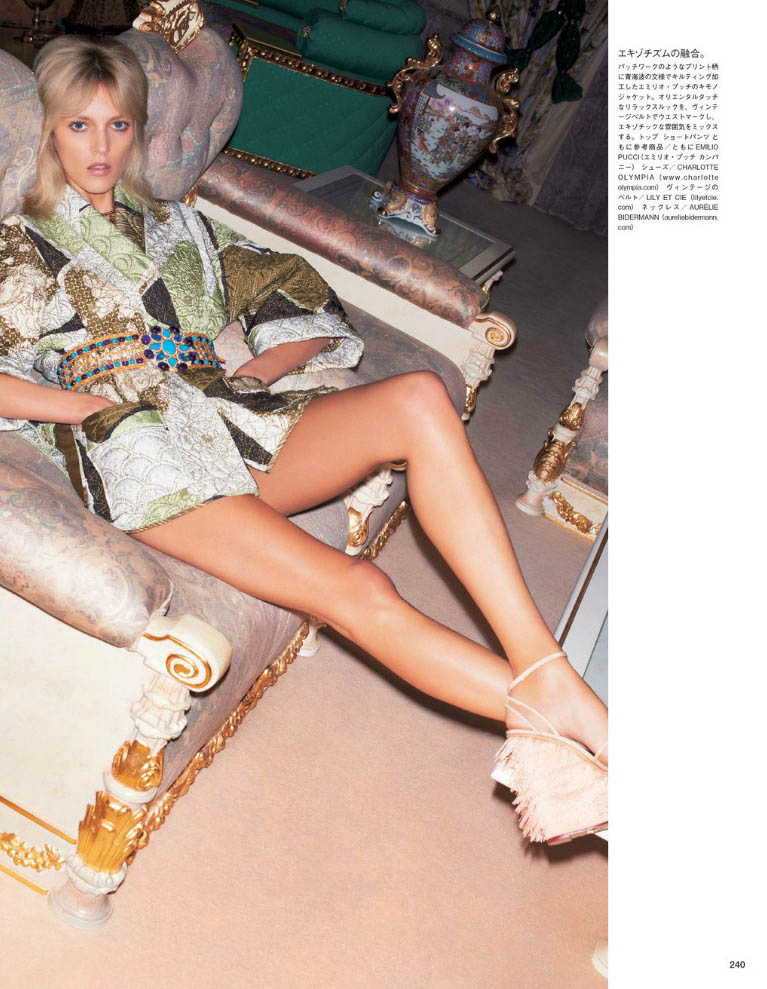 anja vogue japan7 Anja Rubik is 70s Glam for Vogue Japan June 2013 by Katja Rahwles