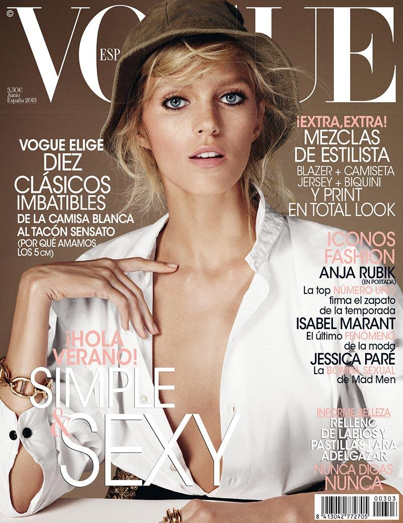 anja vogue spain cover Anja Rubik Graces Vogue Spains June 2013 Cover