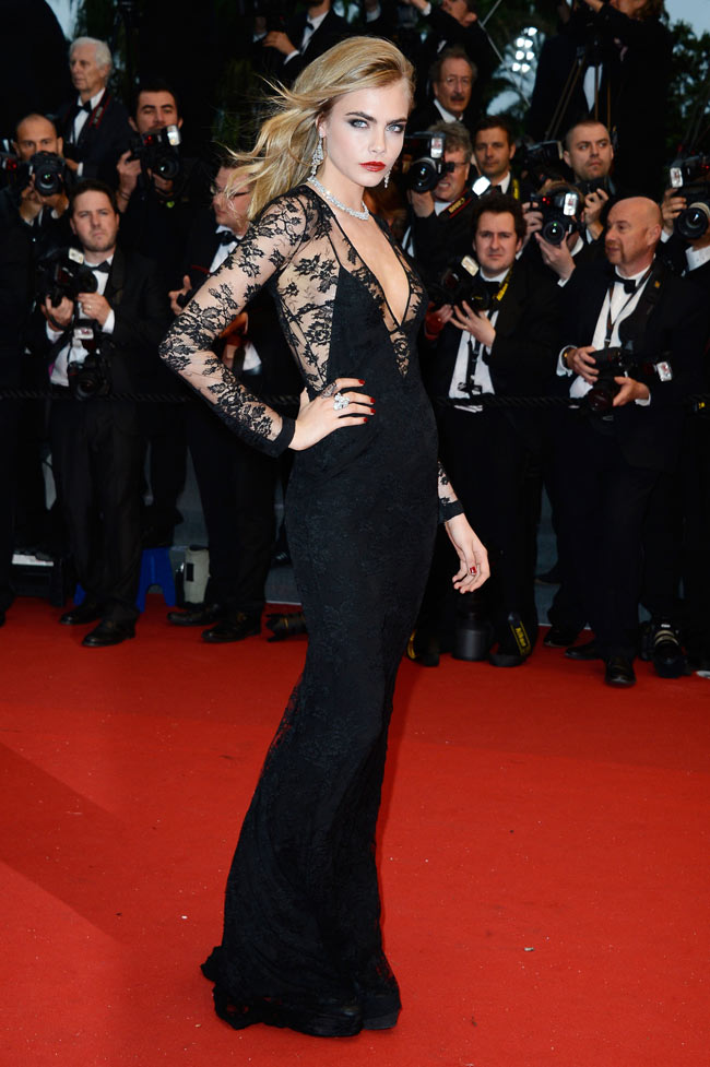 cara cannes burberry2 Cara Delevingne is Lacy in Burberry for the 66th Annual Cannes Film Festival