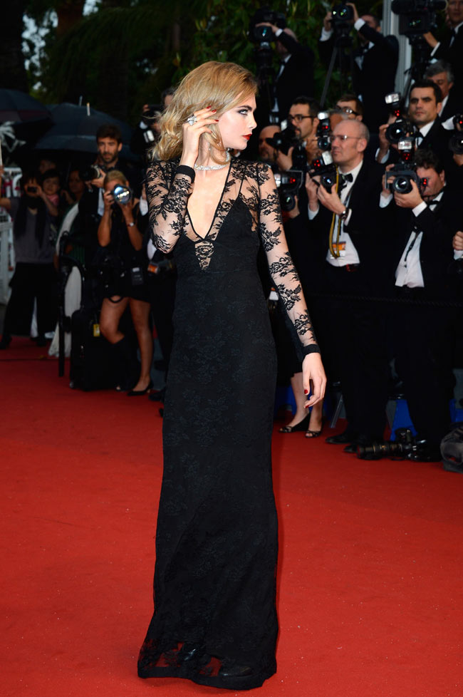 cara cannes burberry3 Cara Delevingne is Lacy in Burberry for the 66th Annual Cannes Film Festival
