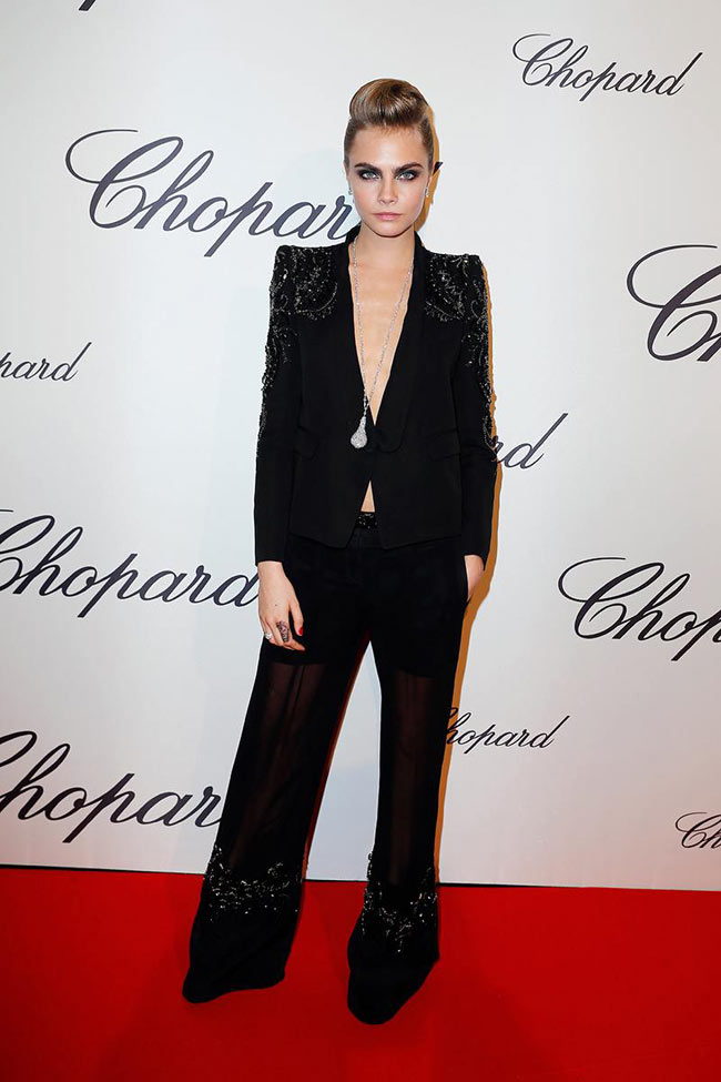cara cavalli1 Cara Delevingne Suits Up in Roberto Cavalli at the Chopard Trophy Event in Cannes