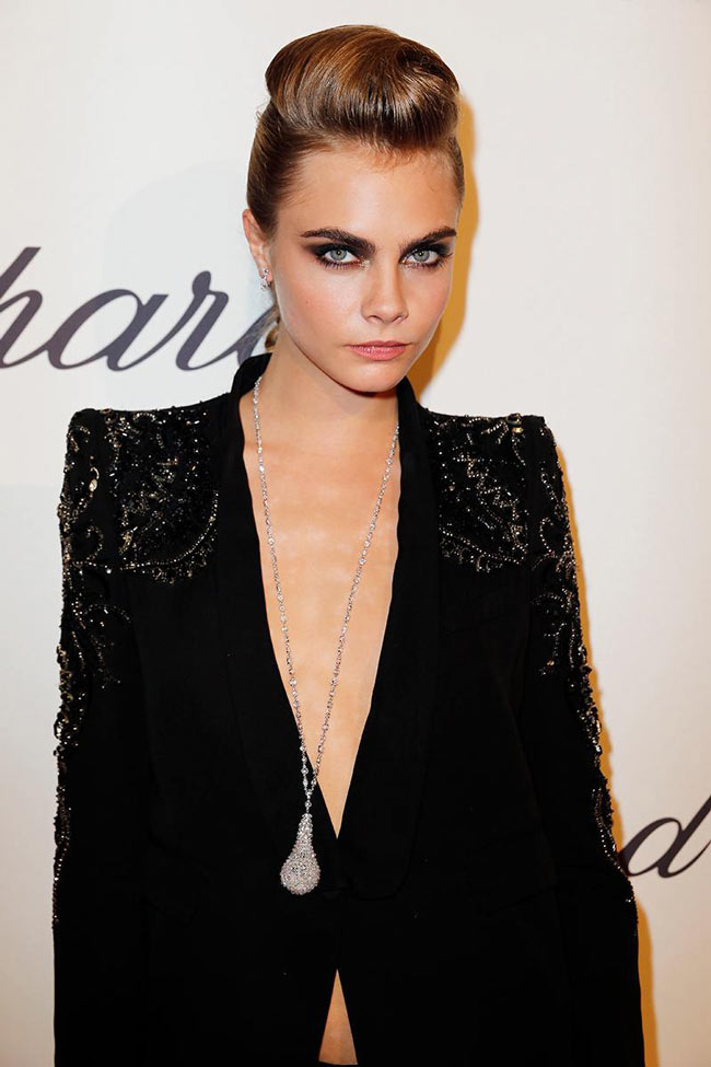 cara cavalli2 Cara Delevingne Suits Up in Roberto Cavalli at the Chopard Trophy Event in Cannes