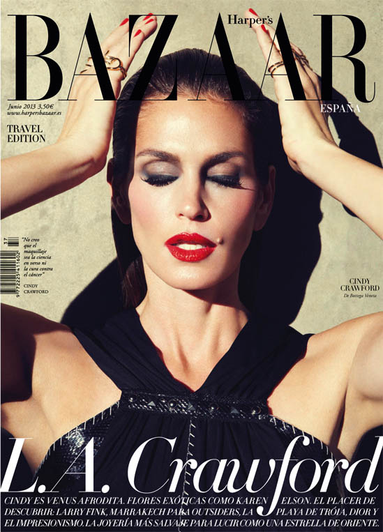 cindy crawford bazaar spain10 Cindy Crawford Stars in Harpers Bazaar Spain June 2013 Cover Shoot by Nagi Sakai