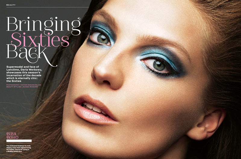 Daria Werbowy wearing sixties makeup in April 2013 stylist magazine