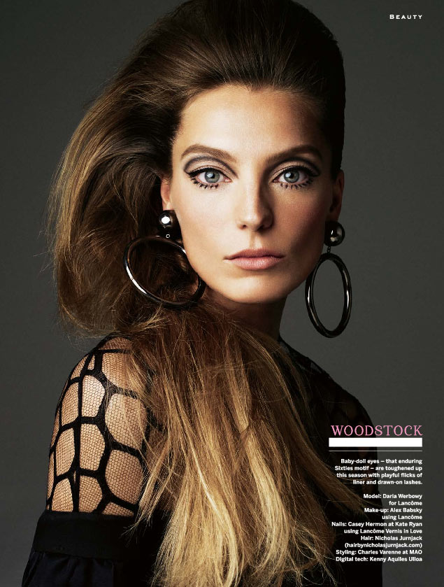 Daria Werbowy in sixties 60s makeup for April 2013 stylist magazine