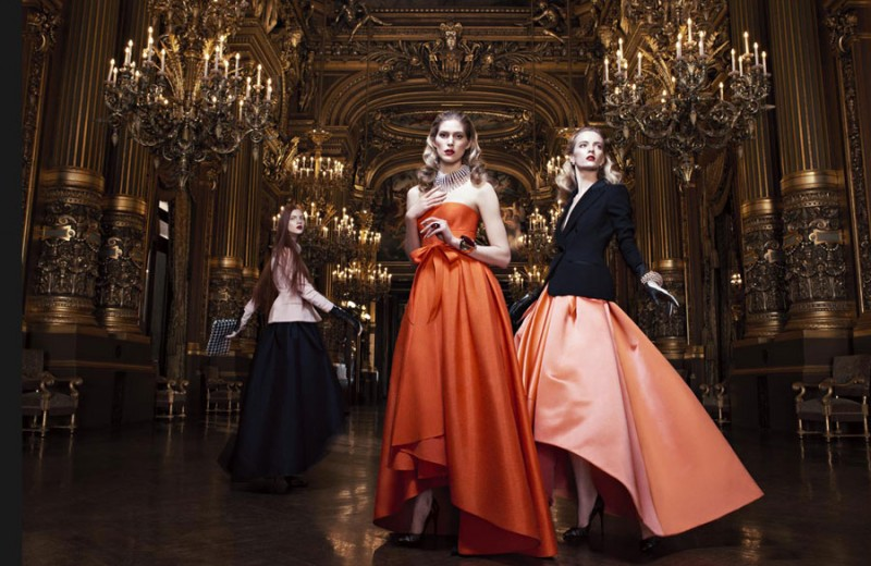 dior fall1 800x520 Daria Strokous and Iselin Steiro Star in Dior Fall 2013 Opera Campaign by Willy Vandeperre