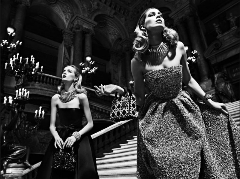 dior fall6 800x596 Daria Strokous and Iselin Steiro Star in Dior Fall 2013 Opera Campaign by Willy Vandeperre