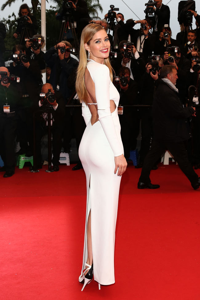 doutzen calvin klein3 Doutzen Kroes is White Hot in Calvin Klein Collection at the 66th Annual Cannes Film Festival