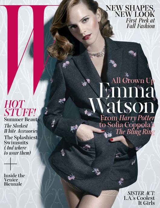 emma watson w magazine4 Emma Watson Models Grown up Glamour for W Magazine June/July 2013 Cover