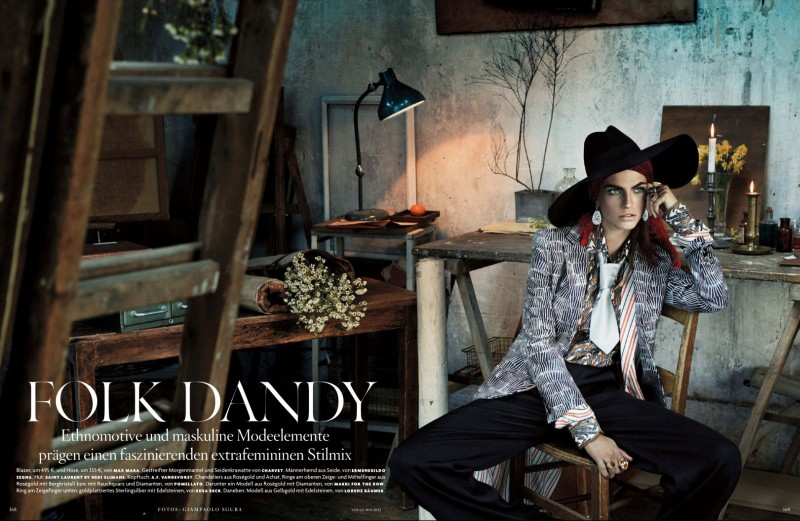 folk style giampaolo sgura1 Karlina Caune Dons Folk Fashion for Vogue Germany May 2013 by Giampaolo Sgura