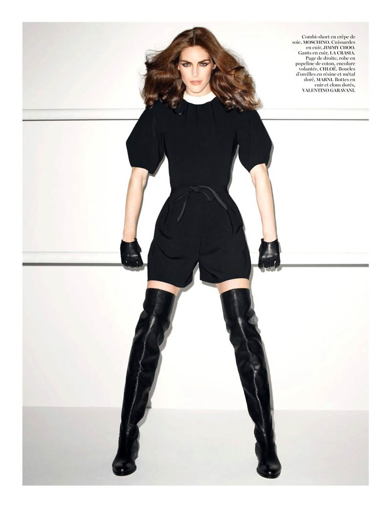 hilary rhoda vogue shoot5 Terry Richardson Snaps Hilary Rhoda in Monochromatic Style for Vogue Paris June/July 2013