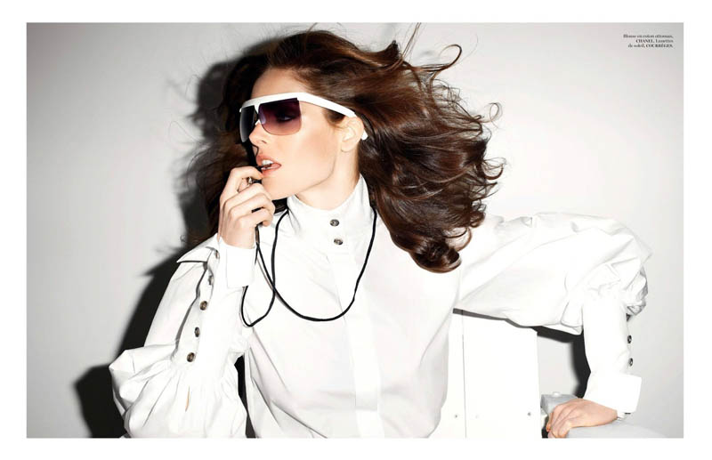 hilary rhoda vogue shoot6 Terry Richardson Snaps Hilary Rhoda in Monochromatic Style for Vogue Paris June/July 2013