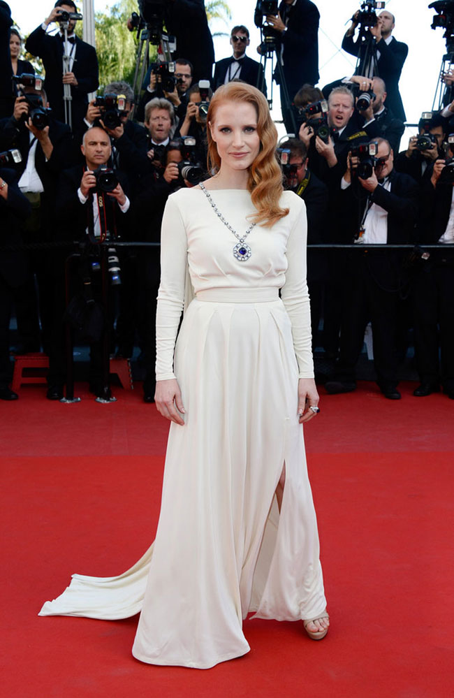 jessica chastain versace2 Jessica Chastain Wears Versace at the Cleopatra Cannes Film Festival Premiere