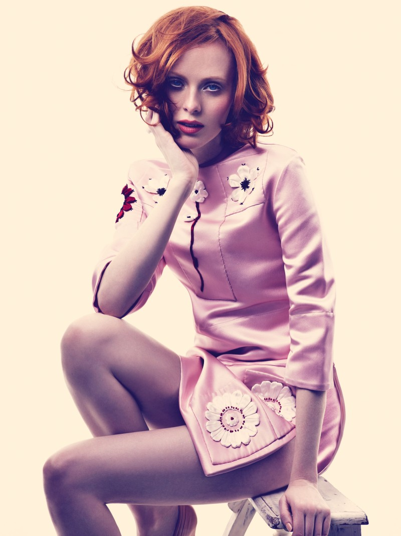 karen elson bazaar3 Karen Elson Embraces Spring for Harpers Bazaar UK May 2013 by Alexi Lubomirski