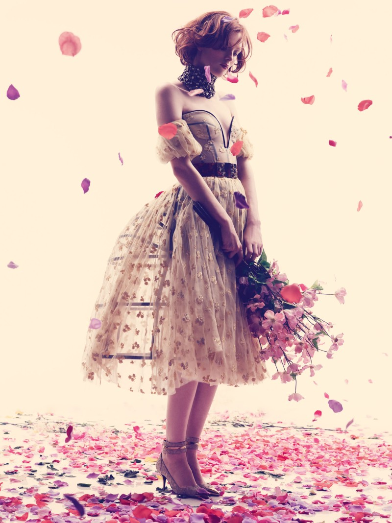 karen elson bazaar4 Karen Elson Embraces Spring for Harpers Bazaar UK May 2013 by Alexi Lubomirski