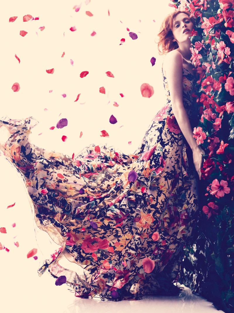 karen elson bazaar7 Karen Elson Embraces Spring for Harpers Bazaar UK May 2013 by Alexi Lubomirski