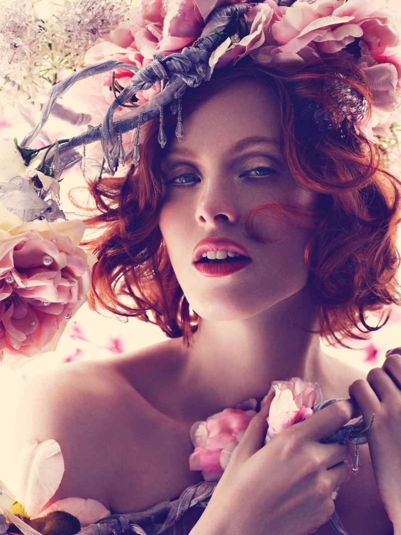 karen elson bazaar8 Karen Elson Embraces Spring for Harpers Bazaar UK May 2013 by Alexi Lubomirski