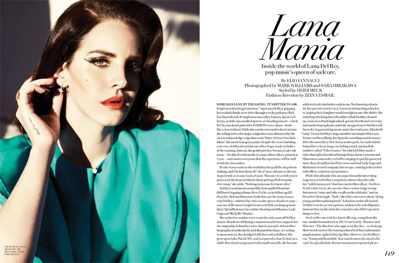 lana fashion magazine1 Lana Del Rey Turns Up the Glam for Fashion Magazines Summer 2013 Cover Shoot
