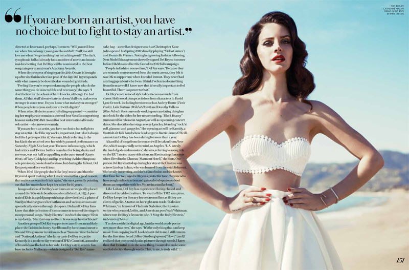 lana fashion magazine2 Lana Del Rey Turns Up the Glam for Fashion Magazines Summer 2013 Cover Shoot
