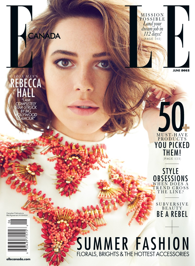 rebecca hall5 Rebecca Hall Stars in Elle Canadas June 2013 Cover Shoot by Max Abadian