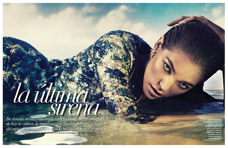 samantha siren vogue1 Samantha Gradoville Shines in Metallic Style for Vogue Latin America June 2013