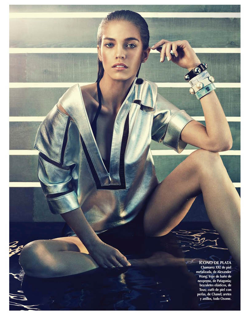 samantha siren vogue2 Samantha Gradoville Shines in Metallic Style for Vogue Latin America June 2013