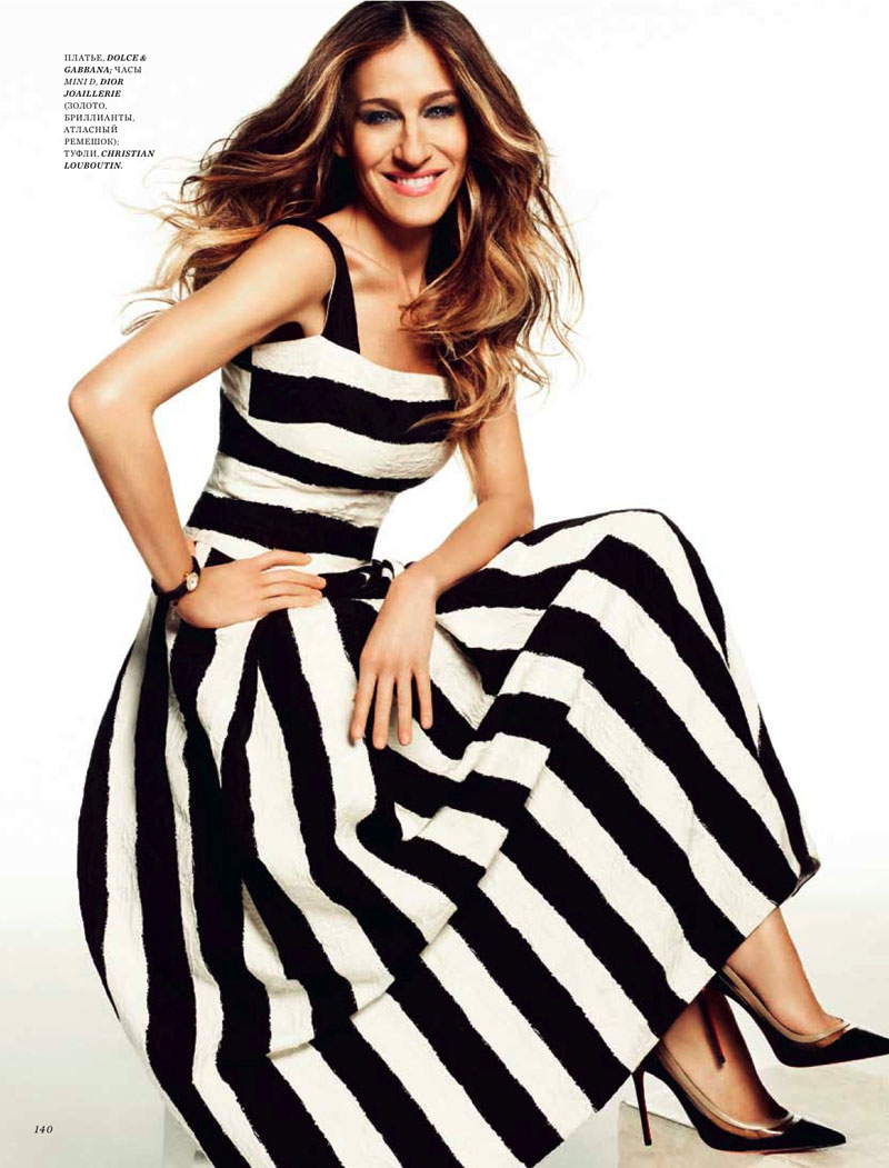 sarah jessica parker2 Sarah Jessica Parker Poses in Harpers Bazaar Russia June 2013 Cover Shoot by Simon Upton