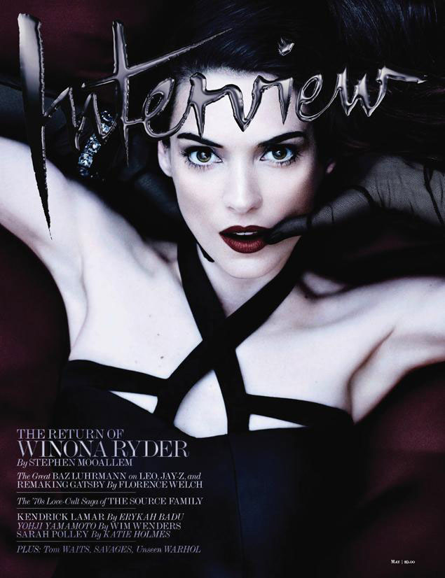 winona ryder1 Winona Ryder Gets Dark for Interview Magazines May 2013 Cover