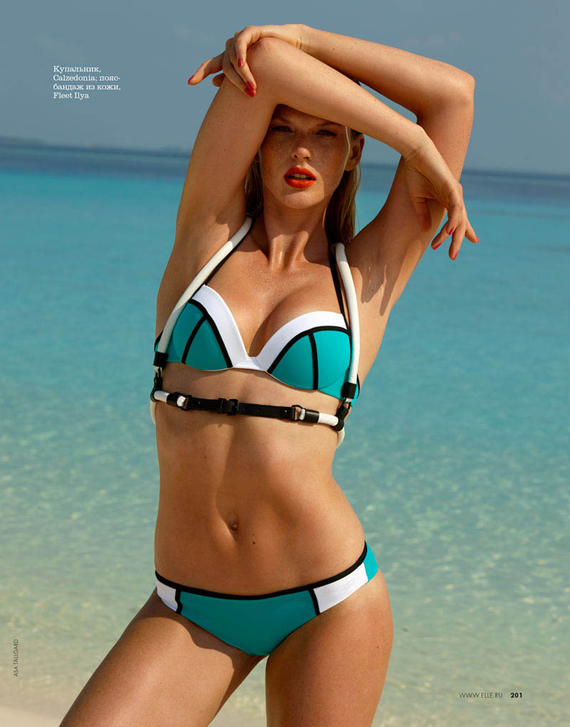 04 elle russia june13 80s anne v asa tallgard 800 Anne Vyalitsyna Hits the Beach for Elle Russia June 2013 Cover Story by Asa Tallgard