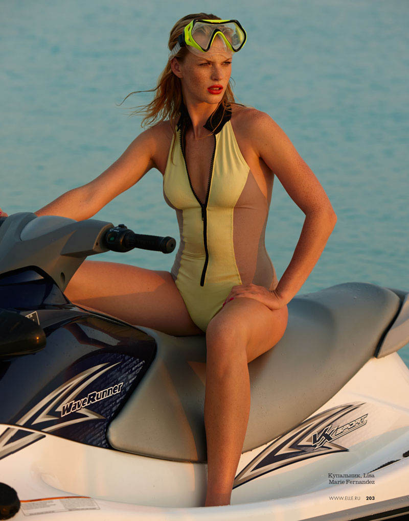 Anne Vyalitsyna Hits the Beach for Elle Russia June 2013 Cover Story by Asa Tallgard
