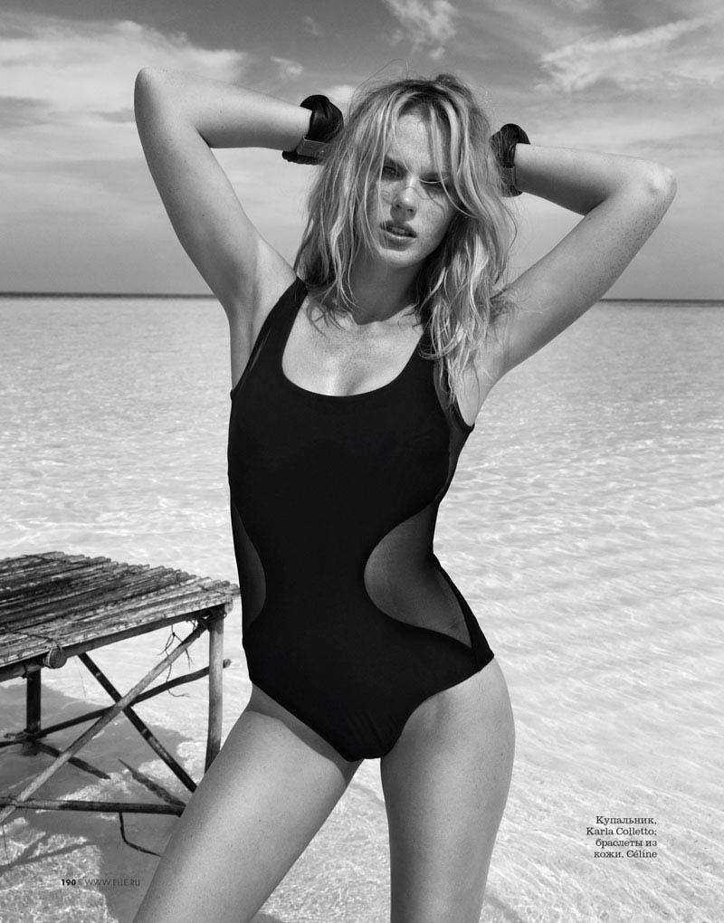 Anne Vyalitsyna Sports Monochromatic Swim for Elle Russia by Asa Tallgard