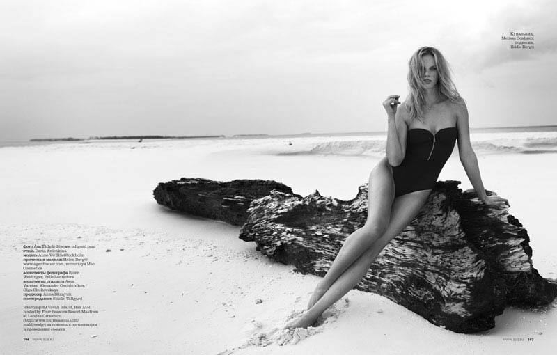 12 elle russia june13 bw anne v asa tallgard 800 Anne Vyalitsyna Sports Monochromatic Swim for Elle Russia by Asa Tallgard