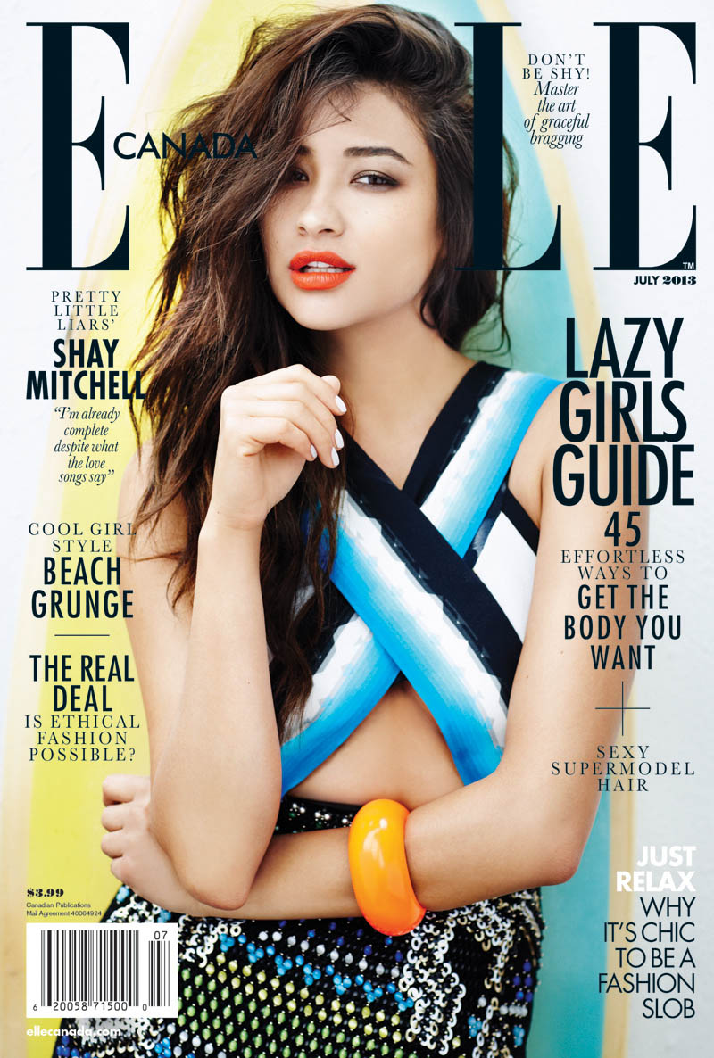 COVER 1 Pretty Little Liars Star Shay Mitchell Covers Elle Canada July 2013