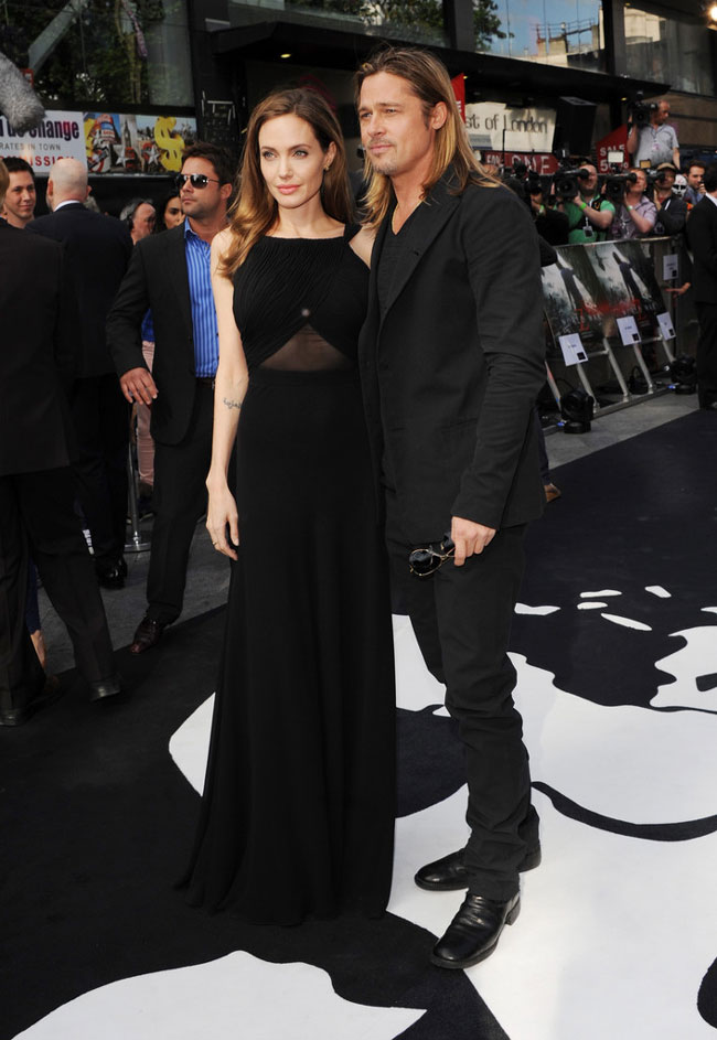 angelina jolie saint laurent1 Angelina Jolie Wears Saint Laurent to the World War Z London Premiere