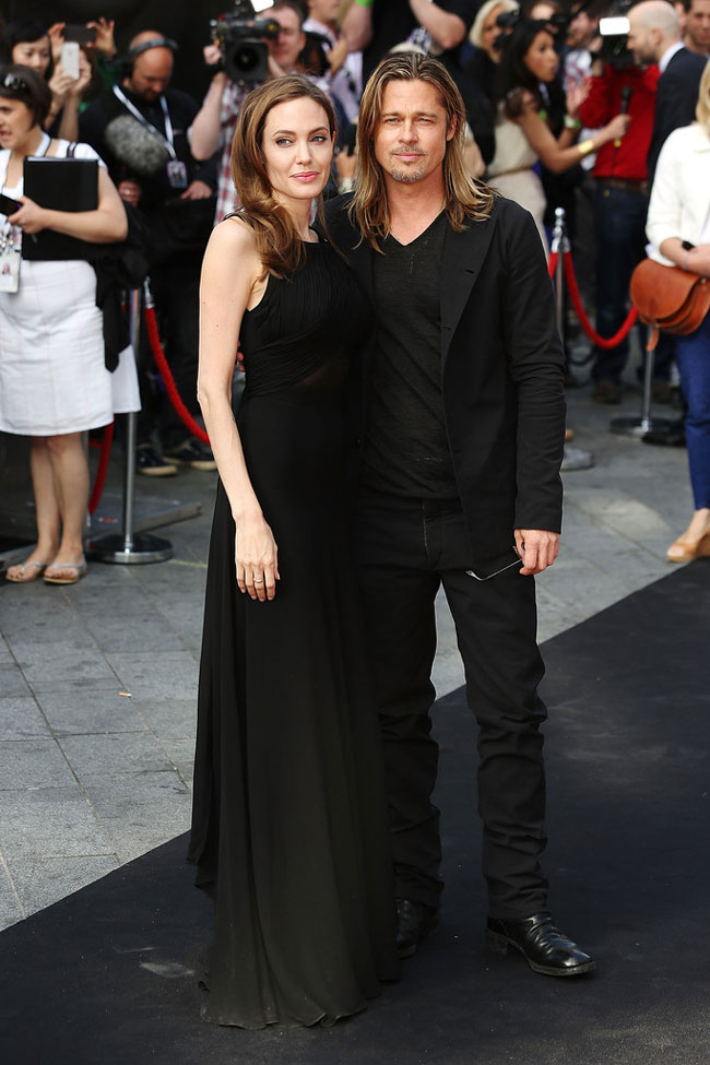 angelina jolie saint laurent3 Angelina Jolie Wears Saint Laurent to the World War Z London Premiere